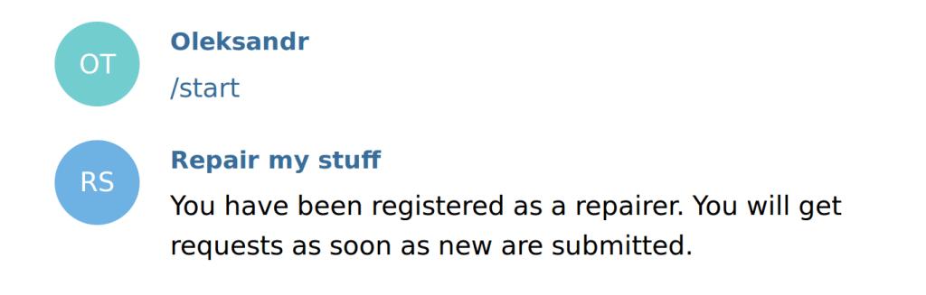 telegram bot user registration (authentication)