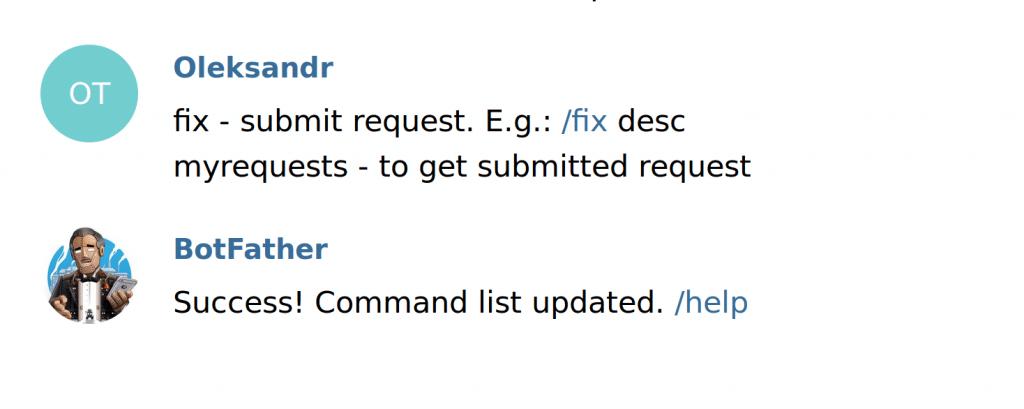 telegram chatbot set commands provide commands