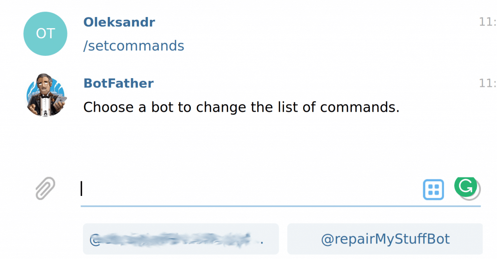 telegram chatbot set commands select bot
